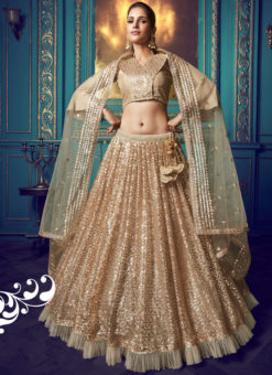 Classic Beige Net Zari Work Party Wear Lehenga Choli