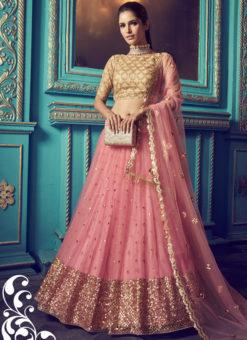 Lovely Pink Net Zari Work Party Wear Lehenga Choli