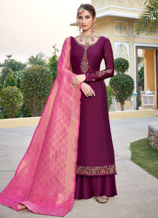 Wonderful Purple Satin Embroidered Work Designer Palazzo Suit