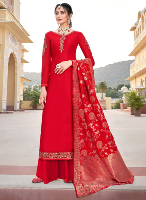Lavish Red Satin Embroidered Work Designer Palazzo Suit