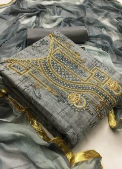 Beautiful Grey Cotton Embroidered Work Designer Salwar Kameez