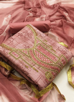 Charming Pink Cotton Embroidered Work Designer Salwar Kameez