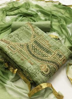 Amazing Green Cotton Embroidered Work Designer Salwar Kameez