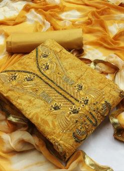 Alluring Yellow Cotton Embroidered Work Designer Salwar Kameez
