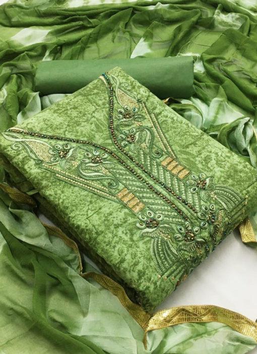 Wonderful Green Cotton Embroidered Work Designer Salwar Kameez