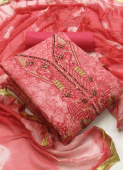 Jazzy Pink Cotton Embroidered Work Designer Salwar Kameez