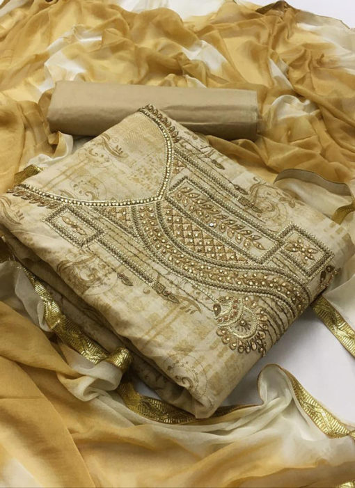 Amazing Cream Cotton Embroidered Work Designer Salwar Kameez