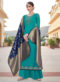 Glorious Sea Blue Satin Embroidered Work Designer Palazzo Suit