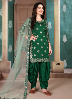 Green Art Silk Embroidered Work Designer Patiala Salwar Suit