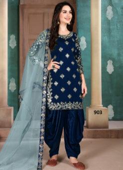 Blue Art Silk Embroidered Work Designer Patiala Salwar Suit