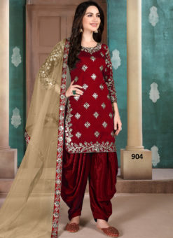 Maroon Art Silk Embroidered Work Designer Patiala Salwar Suit
