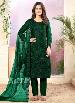 Green Net Designer Straight Cut Churidar Suit