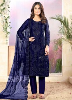 Blue Net Designer Straight Cut Churidar Suit
