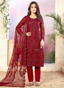 Red Net Designer Straight Cut Churidar Suit
