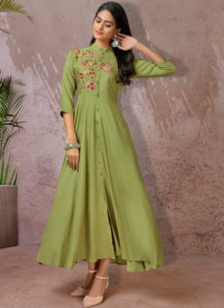 Green Rayon Cotton Embroidered Work Designer Long Kurti