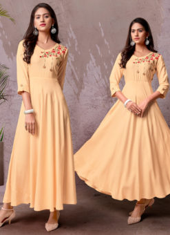 Peach Rayon Cotton Embroidered Work Designer Long Kurti