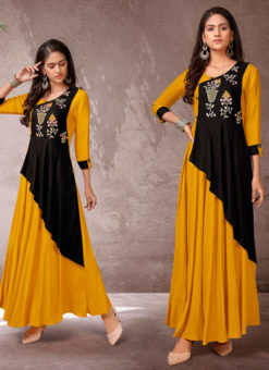 Mustred And Navy Blue Rayon Cotton Embroidered Work Designer Long Kurti