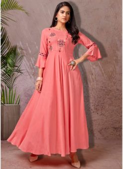 Pink Rayon Cotton Embroidered Work Designer Long Kurti