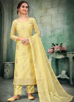 Party Wear Embroidered Work Designer Chanderi Silk Salwar Suit