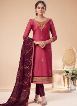 Pink Silk Embroidered Work Party Wear Designer Churidar Suit
