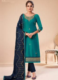 Sea Blue Silk Embroidered Work Party Wear Designer Churidar Suit