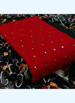 Charming Red Slub Cotton Festival Wear Mirror Work Salwar Suit