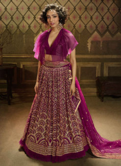 Wine Net Party Wear Sequins Work Designer Lehenga Choli