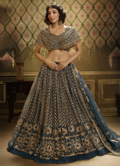 Rama Green Net Party Wear Sequins Work Designer Lehenga Choli