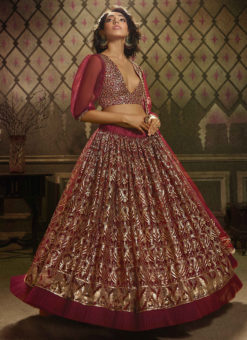 Maroon Net Party Wear Sequins Work Designer Lehenga Choli