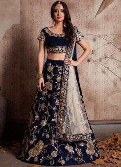 Blue Velvet Silk Embroidered Work Designer Wedding Lehenga Choli
