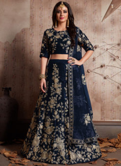 Blue Velvet Silk Embroidered Work Designer Wedding Lehenga Choli