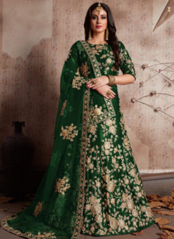 Green Velvet Silk Embroidered Work Designer Wedding Lehenga Choli