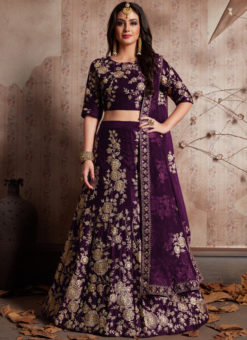 Purple Velvet Silk Embroidered Work Designer Wedding Lehenga Choli