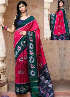 Pink Silk Thread Weaving Traditional Patola Saree