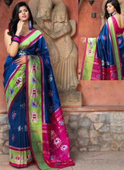 Royale Blue Silk Thread Weaving Traditional Patola Saree