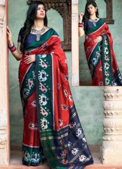 Red Silk Thread Weaving Traditional Patola Saree