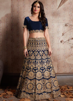 Navy Blue Velvet Silk Embroidered Work Designer Wedding Lehenga Choli