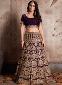 Wine Velvet Silk Embroidered Work Designer Wedding Lehenga Choli