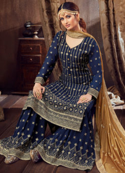 Party Wear Georgette Embroidered Work Designer Palazzo Suit
