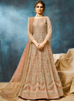 Designer Net Embroidered Work Wedding Anarkali Suit