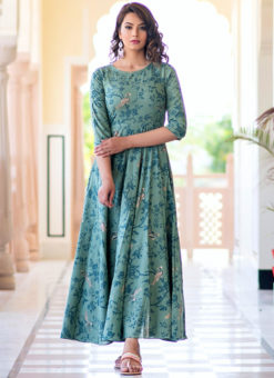 Partywear Designer Hand Screen and Foil Print Sea Blue Pure Chanderi Kurti
