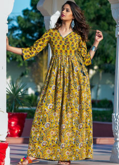Partywear Designer Hand Screen and Foil Print Musterd Pure Chanderi Kurti