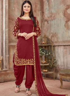 Lovely Marron Satin Mirror Work Designer Patiyala Salwar Suit