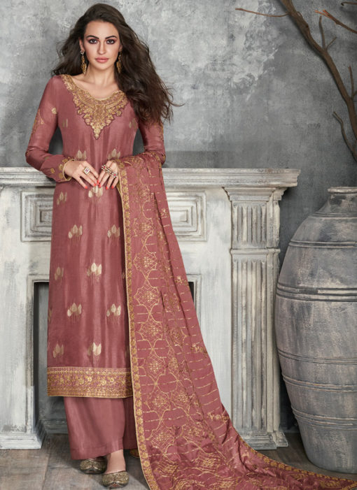 Beautiful Wine Silk Embroidered Work Party Wear Salwar Suit