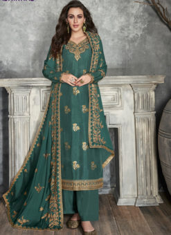 Amazing Sea Green Silk Embroidered Work Party Wear Salwar Suit