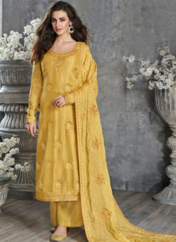 Lovely Yellow Silk Embroidered Work Party Wear Salwar Suit