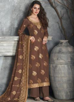 Lavish Brown Silk Embroidered Work Party Wear Salwar Suit
