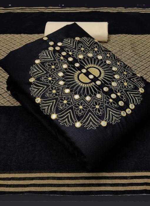 Elegant Black Slub Cotton Embroidered Work Designer Salwar Suit