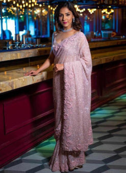 Lovely Pink Georgette Embroidered Work Party Wear Designer Saree
