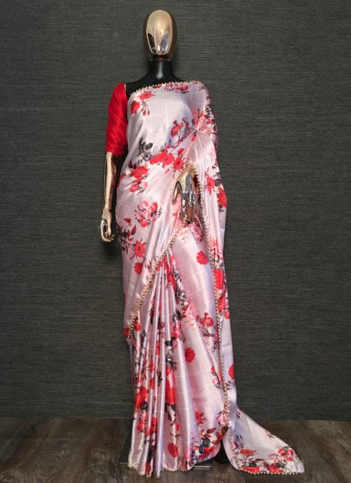 Lavish Red Designer Print Party Wear Satin Saree